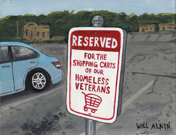Reserved for the shopping carts of our homeless veterans