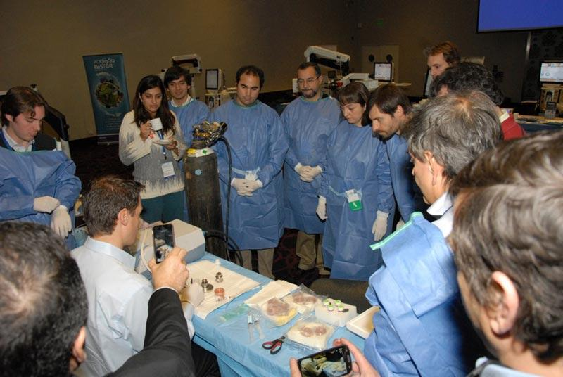 Dr. Aldave demonstrates the technique of donor corneal preparation for DSEK surgery to Chilean corneal specialists.