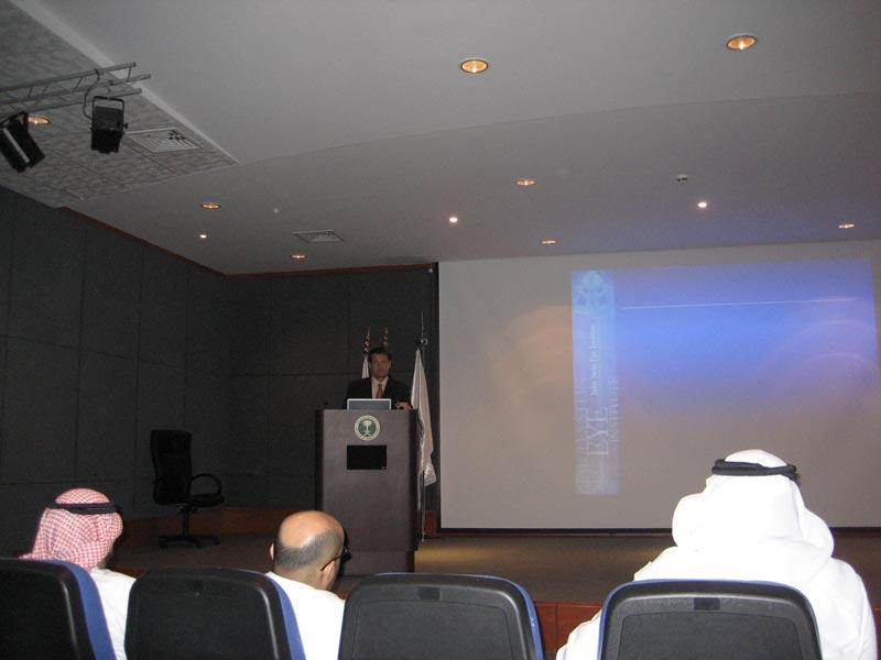 Dr. Aldave lectures to the faculty and trainees at King Khaled Eye Specialist Hospital on Descemet Stripping Endothelial Keratoplasty (DSEK)