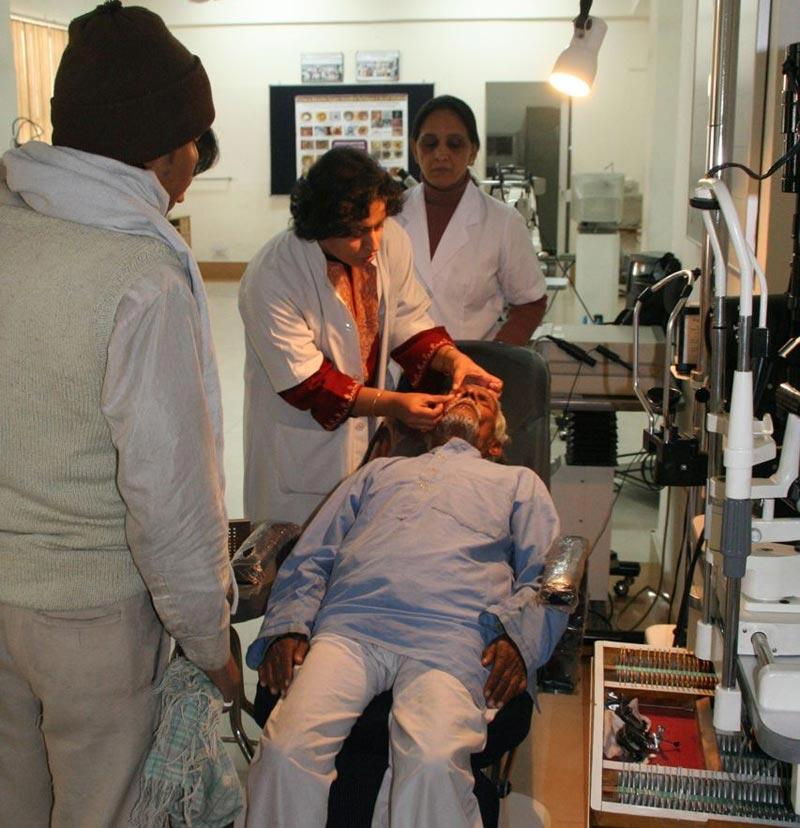 Dr. Radhika Tandon examines the  first patient to receive the Boston keratoprosthesis (artificial corneal transplant) at R P Centre for Ophthalmic Sciences, All India Institute for Medical Sciences