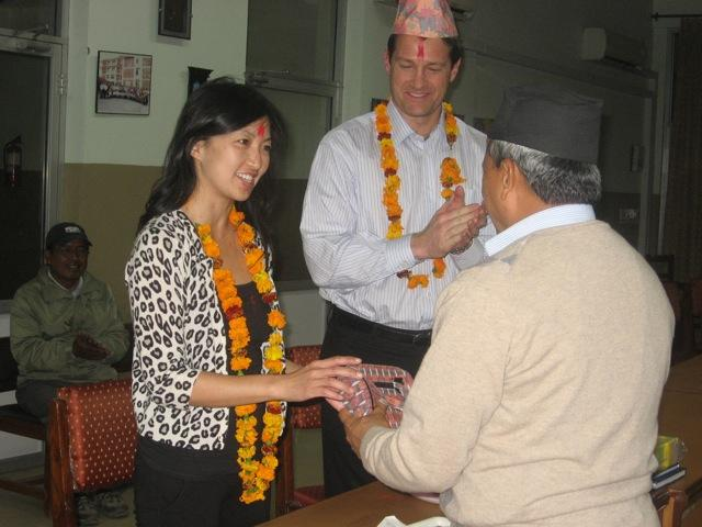 Teresa Aldave and Dr. Aldave receiving a warm welcome to Lumbini Eye Institute.