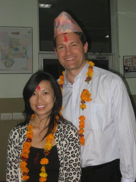 Dr. Aldave and his wife Teresa at welcoming ceremony, Lumbini Eye Institute.