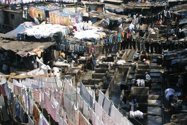Dhobi Ghat, where laundry from all over Mumbai is brought to be cleaned by the thousands of people who work here.