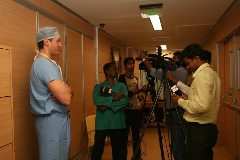 Dr. Aldave being interviewed by members of the press after performing Boston keratoprosthesis surgery at Hinduja Hospital.