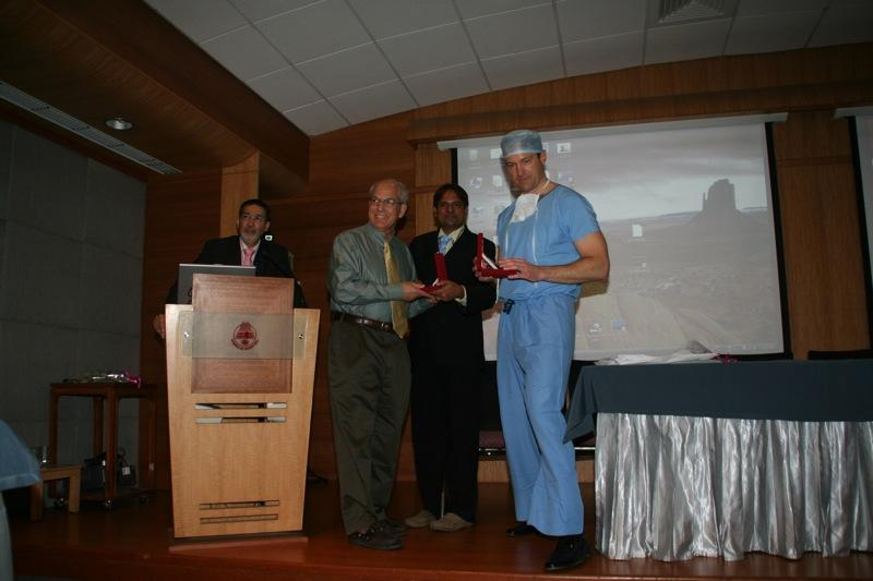 Dr. Aldave lecturing on the Boston keratoprosthesis at Hinduja Hospital.