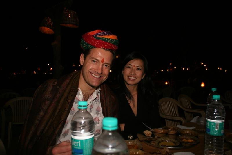 Dr. Aldave and his wife Teresa enjoying a meal in Jaipur.