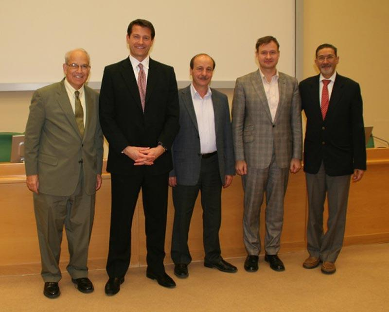 Speakers at the keratoprosthesis training course held at the Fyodorov Eye Institute.   Pictured are Drs. Gerald Schultz, Dr. Aldave, Dr. K.P. Takhchidi (Director General of the Fyodorov Eye Institute), Dr. Boris Malyugin and Dr. Quresh Maskati