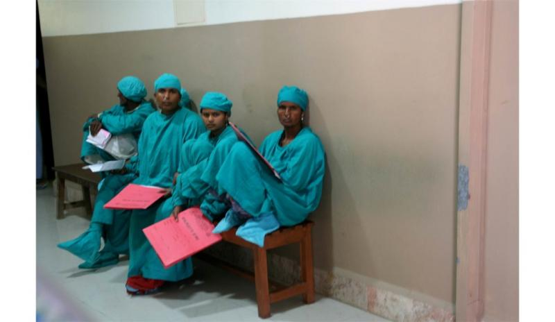 Patients waiting to go into surgery at Lumbini Eye Institute.
