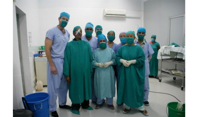 Dr. Aldave and memebers of the Cornea Service and operating room staff at Lumbini Eye Institute.