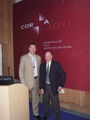 Drs. Aldave and Pineda at the Cornea Connect Conference, Aravind Eye Hospital