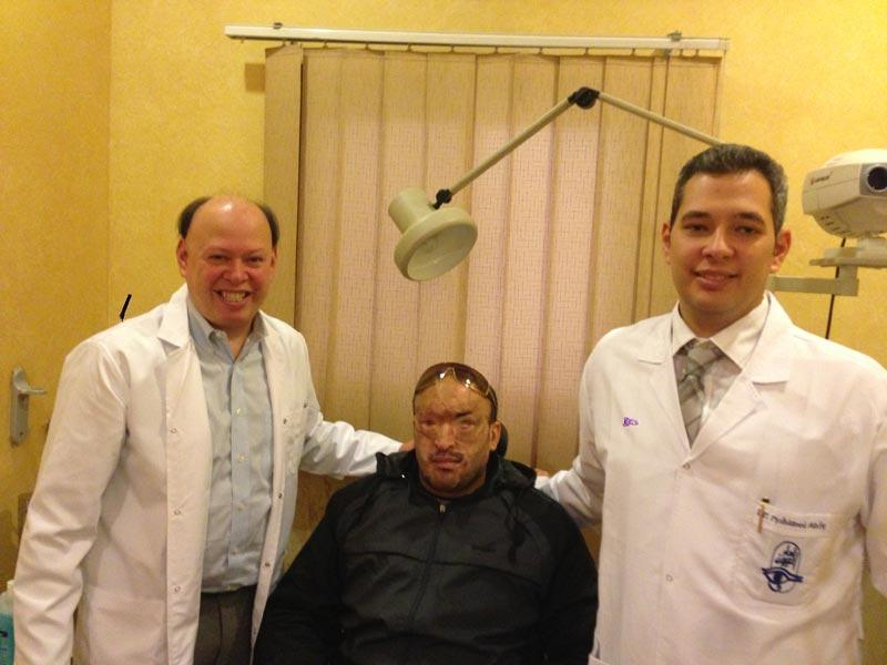 Dr. Pineda and patient who received Boston keratoprosthesis after sustaining injury in Tahrir Square