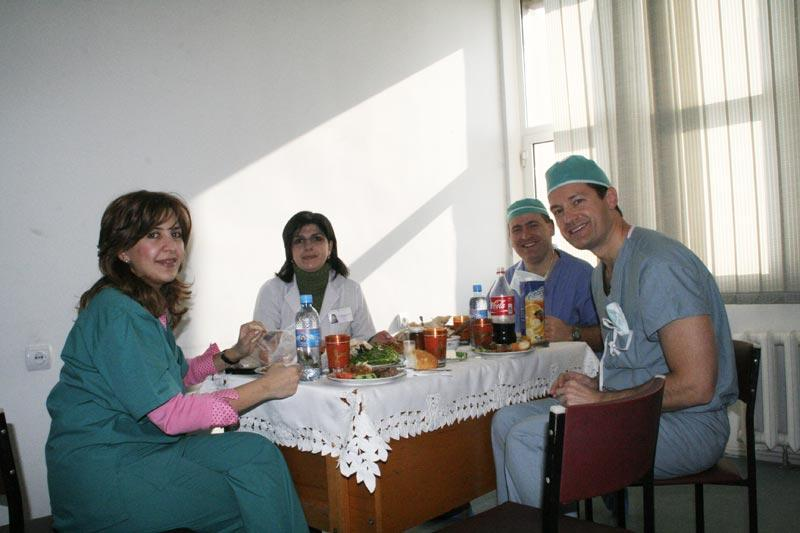 Drs. Hovakimyan, Dr. Ani Hambardzumyan, Armenian Eye Bank Director, Dr. John Hovanesian and Dr. Aldave enjoy a delicious Armenian lunch during a long day of surgery.