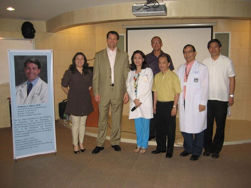 Dr. Aldave and Dr. Minguita Padilla with faculty members of the Department of Ophthalmology, Philippine General Hospital